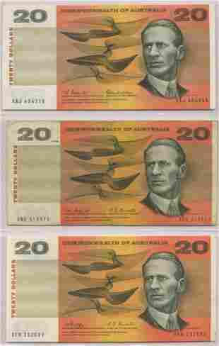 Three (3) 1960s Australian Twenty Dollar Notes