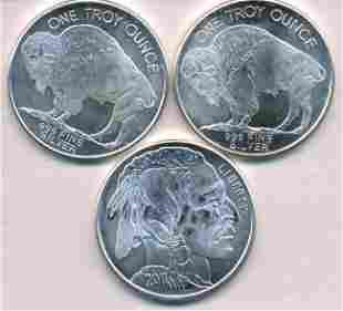Three U.S.A. Buffalo Troy-Ounce Silver Bullion Coins