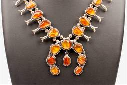 Amber & Sterling Silver Navajo Squash Blossom Necklace
