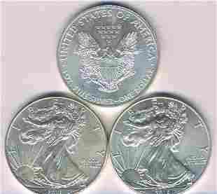 Three U.S.A. Troy-Ounce .999 Silver Bullion Coins