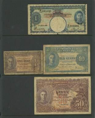 Seven Early Malaya Bank Notes