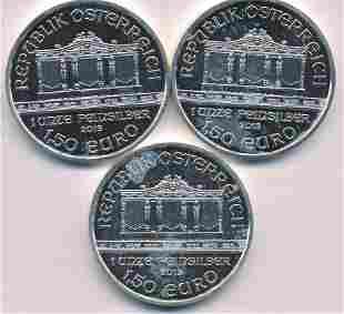 Three European Troy-Ounce Silver Bullion Coins Coins