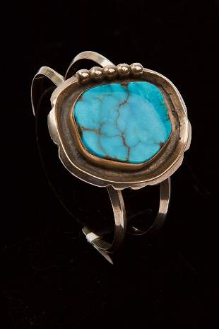 Navajo Turquoise & Sterling Silver Cuff Bracelet