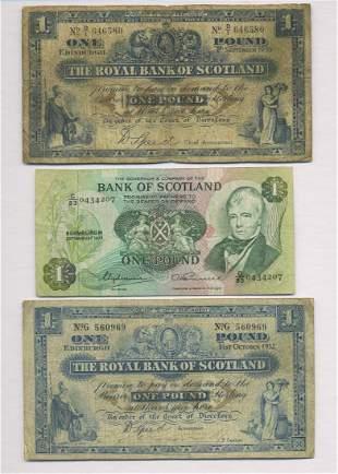 Three Scottish One Pound Bank Notes