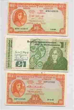 Three Central Bank of Ireland Notes