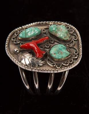 Navajo Coral, Turquoise & Sterling Silver Cuff Bracelet