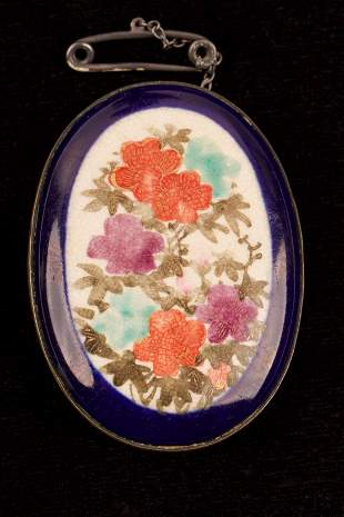 Early Oriental Hand Painted Porcelain & Bronze Brooch