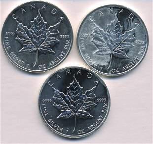 Three Canadian Silver Ounces