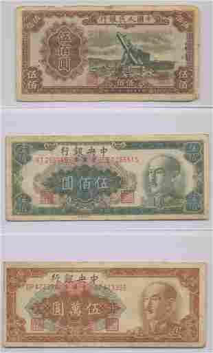 Three 1949 Chinese Bank Notes