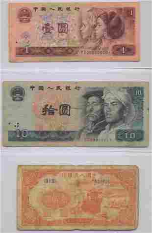 Three Chinese Notes incl. 1949 First Series 100 Yuan