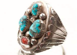 Navajo Coral, Turquoise and Sterling Silver Ring