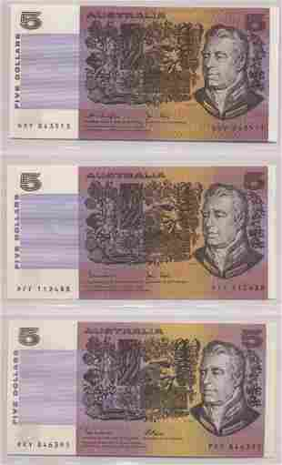 Three Australian Five Dollar Paper Bank Notes