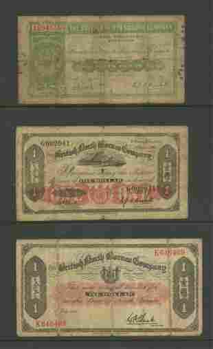 Three WWII-era British North Borneo Company Notes