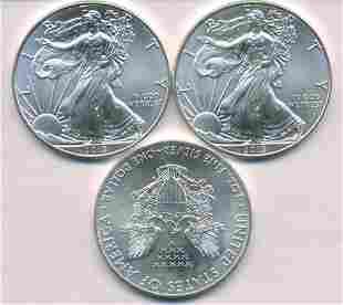 Three Unites States of America Silver Ounces