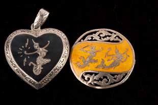 Siam Sterling Silver Pendant & Brooch