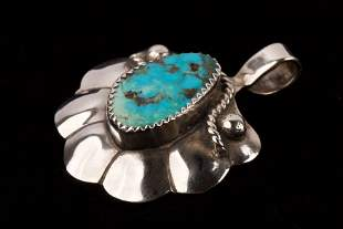 Navajo Sterling Silver & Turquoise Pendant, Signed