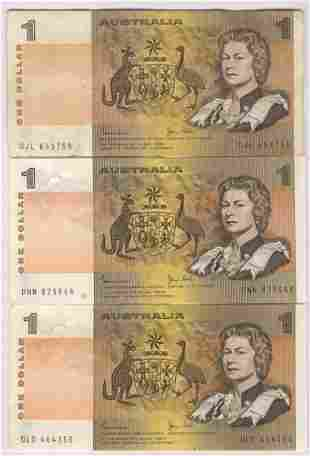 Three (3) 1983 Australian One Dollar Notes