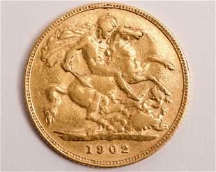 1902 St. George & Dragon 22K Gold Half Sovereign