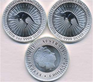 Three (3) 2016 Australian One Ounce .999 Bullion Coins
