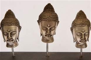 Three Thai Cast Metal Sculpure in Frame