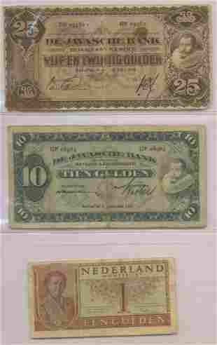 Three (3) Bank Notes - Dutch East Indies and Netherland