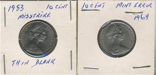 Two (2) Australian MINT ERROR Coins - 1969 and 1983
