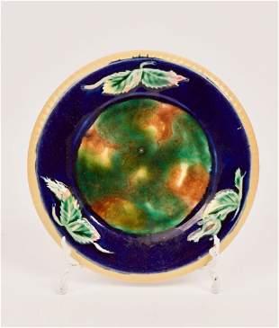 Two (2) Majolica Decorative Pottery Plates