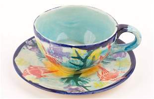 Late 1980s Hand-Decorated Tea Cup and Saucer