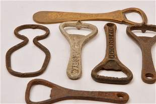 Six Antique and Vintage Advertising Bottle Openers