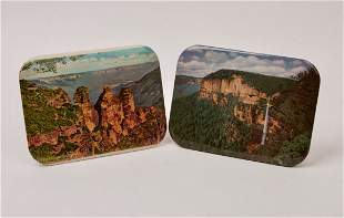 Scenic Blue Mountains Metal Plates on Stands