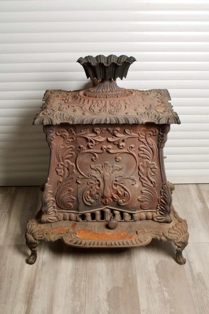 Antique American Cast Iron Wood Fireplace