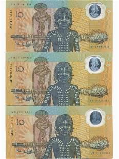 Three (3) 1988 Australian Polymer Ten Dollar Notes