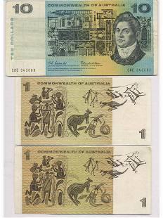 Three (3) Commonwealth of Australia Notes