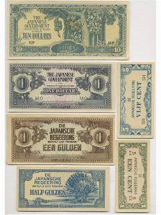 Six (6) WWII Japanese Foreign Occupation Notes