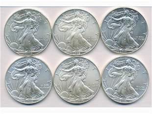 Six (6) U.S. Troy-Ounce Silver Bullion Coins