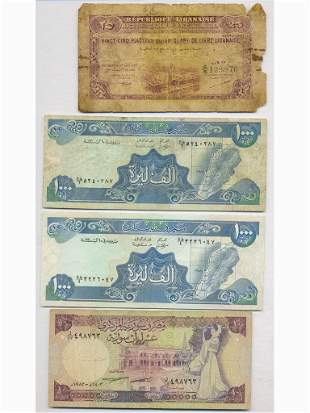 Four (4) Lebanese and Syrian Bank Notes