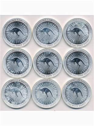 Nine (9) 2016 Australian Silver Bullion Coins