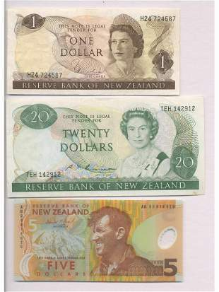 Three Reserve Bank of New Zealand Notes