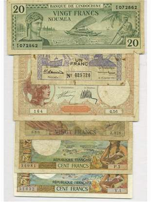 Six (6) French New Caledonian Bank Notes