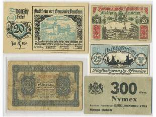 Five (5) European Wartime and Emergency Notes