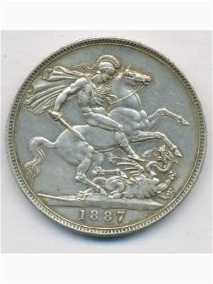 1887 Queen Victoria British Silver Crown