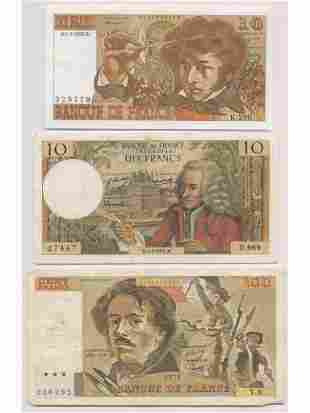 Eight (8) French Bank Notes
