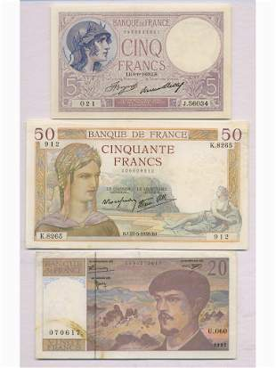 Three (3) French Bank Notes