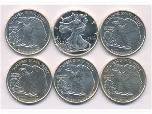 Six (6) Quarter-Troy-Ounce Silver U.S.A. Coins