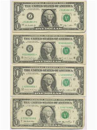 U.S.A. STAR NOTE and Three One Dollar Notes