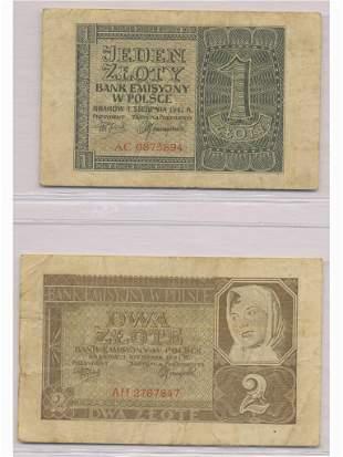 Two (2) 1941 Polish Bank Notes