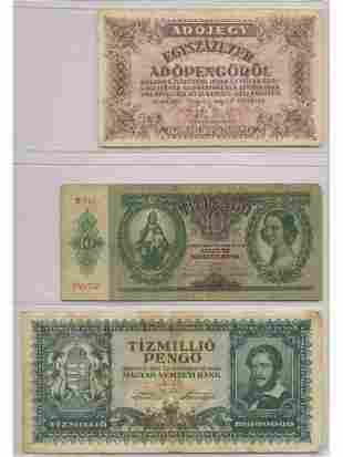 Three Hungarian Bank Notes