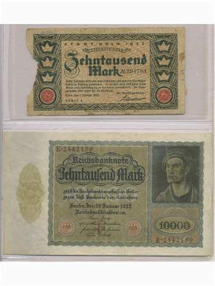 Two Early 1920s German Bank Notes