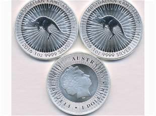 Three (3) 2016 Australian One Ounce .999 Bullion Coins