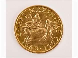 22K Gold Coin, 1965 Dutch Korps Mariniers Coin